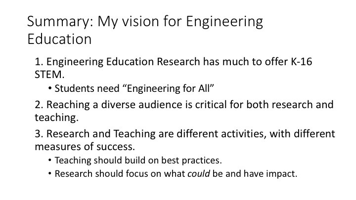 Summary: My Vision for Engineering Education