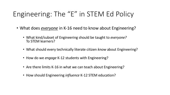 "Engineering: The ""E"" in STEM Ed Policy"