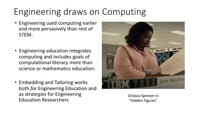 Engineering draws on computing