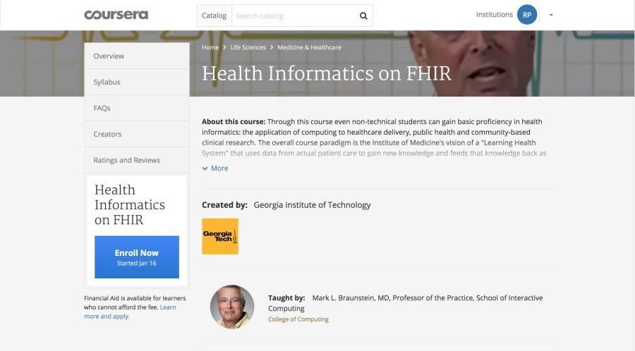Coursera Georgia Tech Course on FHIR with Mark Braunstein