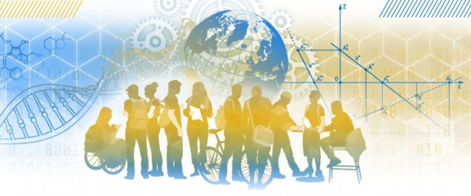 Imagine a Future in Which Learning is for Life graphic of diverse group of people with globe in background